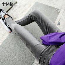 新品  七格格 牛仔裤女高腰新款韩版学生bf百搭显瘦紧身小脚铅笔长裤