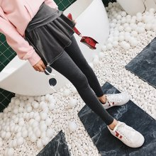 七格格打底裙丝绒裤子女外穿冬季2018新款加绒加厚韩版假两件长裤