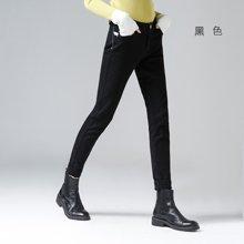 初语2018春装新款修身小脚裤显瘦水洗牛仔裤女魔术裤铅笔裤黑色裤8631815010