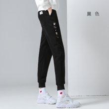 初语2018春秋装新款裤子女刺绣小脚宽松加绒运动裤女卫裤哈伦长裤8644411011