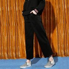 初语裤子2018春季新款女 黑色直筒阔腿宽松显瘦卫裤运动裤长裤8744401001