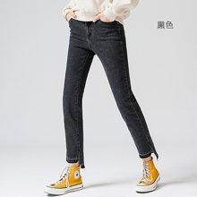 初语冬季新款牛仔裤女chic长裤 磨破修身韩版百搭时尚直筒裤8741815002