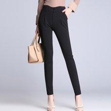亿族 春夏装新款修身高腰纯色哈伦裤女长裤西装裤