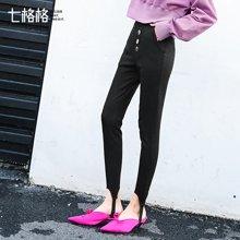 七格格 铅笔裤子女生2018春季装新款韩版高腰黑色时尚chic显瘦踩脚休闲裤