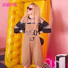 妖精的口袋Y做旧背带裤夏装2018新款宽松chic休闲学院原宿裤子女J