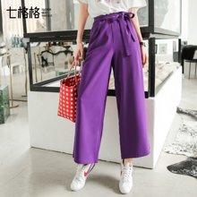 新品 七格格 高腰阔腿裤女夏装2018新款学生韩版宽松ins的裤子紫色运动裤