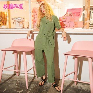 妖精的口袋Y夏装2018新款休闲宽松chic?#21487;?#24037;装气质短袖连体裤女J