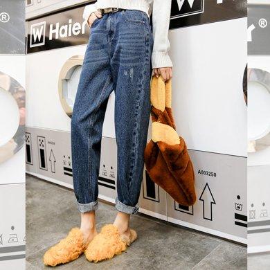 新品 七格格 老爹褲寬松牛仔褲女春裝季2019新款韓版學生顯瘦直筒高腰闊腿褲子