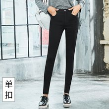百依恋歌 春季韩版女士蜜蜂魔术裤大码潮修身显瘦黑色九分裤 18F0223
