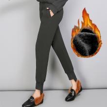 億族 秋冬裝新款大碼加絨打底褲女保暖寬松哈倫褲胖MM休閑衛褲加厚