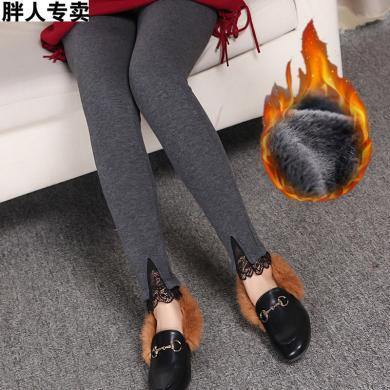 亿族 秋冬装新款加绒加厚大码蕾丝小脚裤女胖MM外穿保暖弹力打底裤