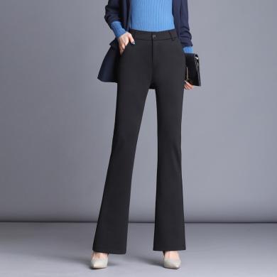 億族 微喇褲女春秋裝新款高腰顯瘦垂感大碼修身喇叭褲黑色西裝褲女