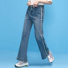 初语初语 2018春装新款 侧边条纹织带宽松长裤微喇牛仔裤8811815013