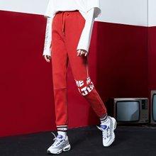 初语 2018年春季新款 加绒保暖绑带腰字母印花卫衣裤直筒裤女裤M8744401019