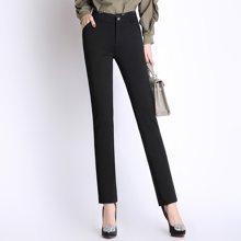 芃拉实拍春装新款中年女士休闲裤高腰加大码弹力女裤子直筒长裤XAS8636