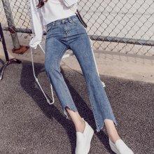 芃拉实拍2018春夏季新款韩版微喇九分牛仔裤女高腰显瘦阔腿直筒喇叭裤MYXZ313