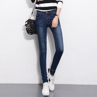 搭歌 秋季新款牛仔裤女装弹力中腰长裤修身显瘦小脚裤韩版潮 6612