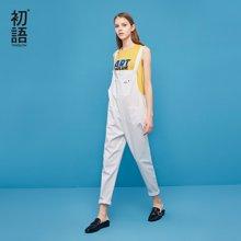 初语2018夏季新款 ulzzang工装大兜宽松纯棉背带裤女少女风 显瘦8821902007