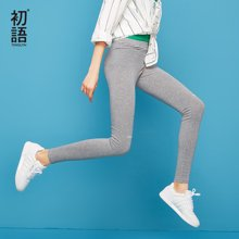 初语2018夏季新款 弹性打底裤女显高显瘦局部印花中腰小脚裤外穿8822041001