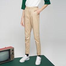 初语2018夏新款 通勤修腿印花直筒纯棉休闲长裤女M8821902012