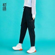 初语秋装新款 休闲显瘦系带纸袋裤休闲裤8831902014