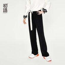 初语阔腿裤女2018新款垂感显瘦飘逸雪纺裤女系带8831902007