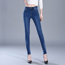 亿族 春季新款高腰弹力牛仔裤显瘦女装小脚铅笔裤长裤