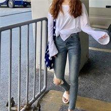 搭歌2018秋季新款韩版蓝色破洞须边高腰修身显瘦长裤牛仔裤女6107
