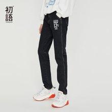 初語漫威字母印花小腳鉛筆九分褲2018新款顯瘦韓版女打底牛仔褲M8831815026