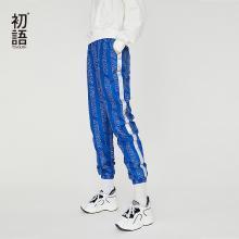 初语漫威复仇者联盟匹印花料杠纹束脚街头风时尚潮流休闲裤女M8831902024