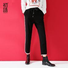 初语秋新款黑色宽松撞色抓绒加厚卫衣裤运动休?#20449;?#35044;8744401005