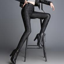 芃拉皮裤女秋冬新款高腰打底裤外穿长裤大码弹力黑色裤XAS7509