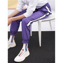 初语2019春装新款紫色休闲裤女宽松侧条纹bf风直?#24425;?#33050;运动裤潮8911902006