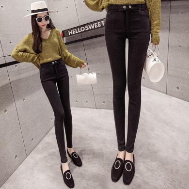 修允菲2019春季打底褲女外穿黑色褲子新款高腰顯瘦女褲小腳褲B1247