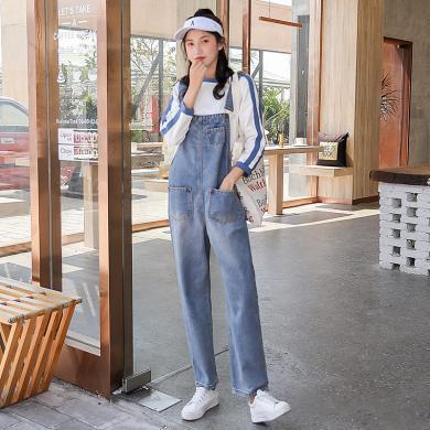 搭歌2019秋季新款背帶褲女韓版學生bf高腰直筒顯瘦連體九分牛仔褲H2030