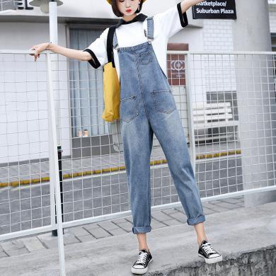 搭歌2019秋季新款韓版復古學生寬松牛仔背帶褲女高腰顯瘦九分連體褲子H6902