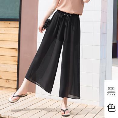 百依戀歌 夏季新款波西米亞大碼織帶雪紡闊腿褲 QT10019