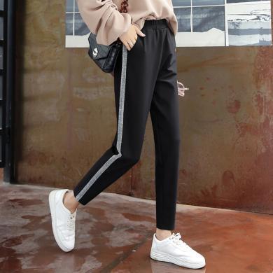 百依恋歌 夏季新款女士侧白条直筒阔腿裤宽松学生休闲裤 QT10016