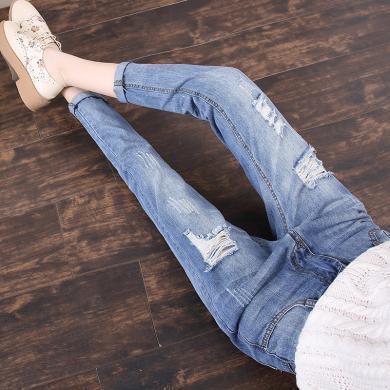 搭歌新款顯瘦寬松老爹褲九分褲破洞牛仔褲女裝 B3731