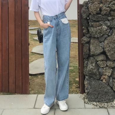 搭歌秋季港味风拼色百搭直筒阔腿学生修身显瘦高腰牛仔长裤女装 B3417