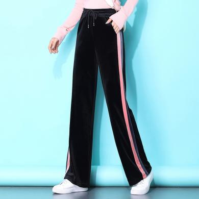 meyou 秋冬裝新款高腰直筒長褲顯瘦寬松闊腿褲側邊條紋休閑褲女
