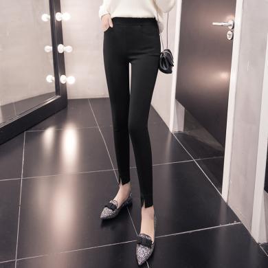 苏醒的乐园黑色裤子女装夏季2019新款秋装韩版时?#34892;?#36523;紧身简约?#20262;按?#37197;长款SXKl9104