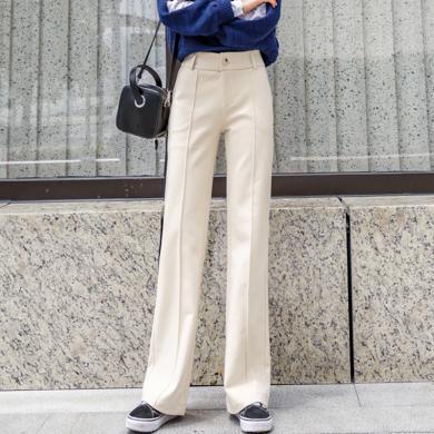 绮娑 高腰直筒长裤秋冬装新款时尚韩版毛呢裤女宽松垂感休闲裤