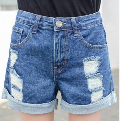 搭歌 2019夏新款牛仔短褲女裝破洞短褲AA字褲無彈力直筒牛仔褲 136