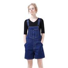 初语2018新款纯棉背带短裤女夏连体裤休闲薄款宽松显瘦直筒背带裤8722502001