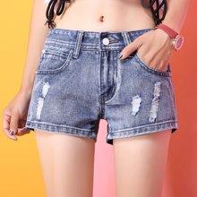 亿族 夏季新款韩版破?#32431;?#26494;学生热裤潮女短裤牛仔裤