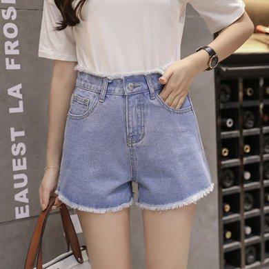 綺娑 高腰牛仔褲女夏季新款時尚毛邊牛仔短褲顯瘦學生熱褲女士短褲