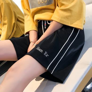 百依戀歌 運動風夏季新款韓版女士小清新亮絲字母短褲大碼條紋休閑褲 QT10049