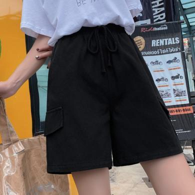 百依戀歌 短褲夏季新款韓版女式大碼胖MM麻繩口袋休閑褲子個性工裝褲 QT10056