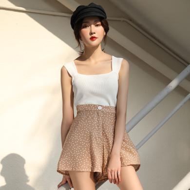 BANANA BABY2019夏新款韓版休閑熱褲高腰顯瘦寬松波點闊腿短褲女D292KZ731